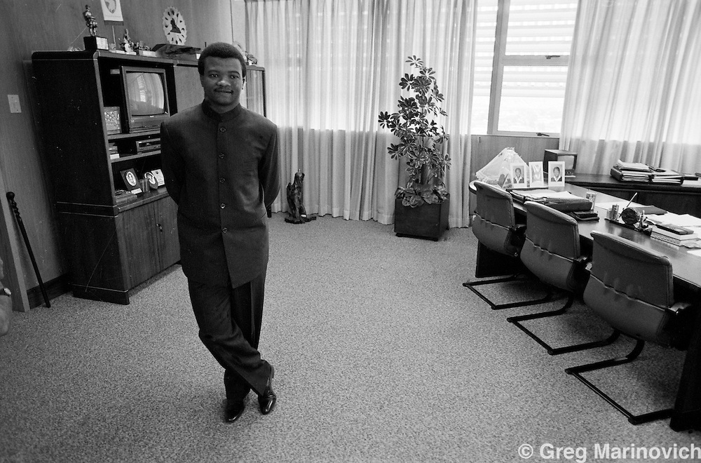 General Bantu Holomisa in his office in Bisho while he was leader of the Transkei after he staged a coup. He was the last leader of the Transkei as an 'independent' country, and he then joined the ANC and later formed the United Democratic Front after he was expelled from the ANC for his views.
