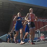 05.08.2018 AJ Bell London Triathlon at the Excel Centre London UK Mens and ladies junior triathletes during the event