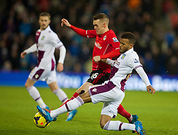 CARDIFF, WALES - Tuesday, February 11, 2014: Cardiff City's Craig Noone in action against Aston Villa's Ryan Bertrand during the Premiership match at the Cardiff City Stadium. (Pic by David Rawcliffe/Propaganda)