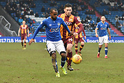 Bradford City forward Shay McCartan (14)  andsOldham Athletic and new loanee Signing, Moimbe Pens (3)  during the EFL Sky Bet League 1 match between Oldham Athletic and Bradford City at Boundary Park, Oldham, England on 3 February 2018. Picture by Mark Pollitt.