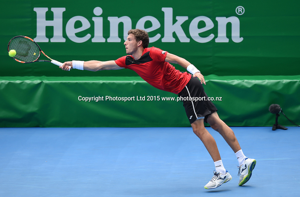 Spain's Pablo Carreno Busta in action during his singles match on Day 3 at the Heineken Open. Festival of Tennis, ATP World Tour. ASB Tennis Centre, Auckland, New Zealand. Wednesday 14 January 2015. Copyright photo: Andrew Cornaga/www.photosport.co.nz