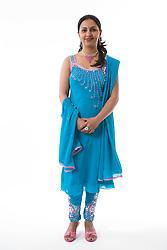 Woman wearing traditional Asian dress,