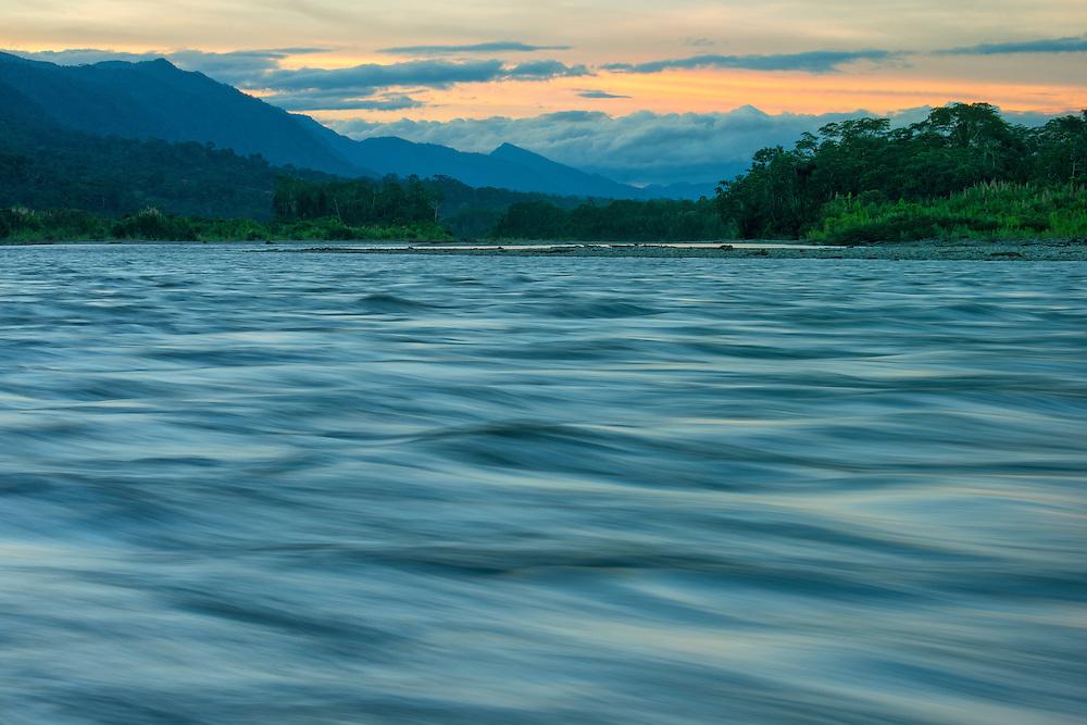 South America, Peru, Manu National Park, Madre de Dios river at dusk,UNESCO, World Heritage