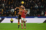 Hull City midfielder David Meyler (8) and Bristol City midfielder Bobby Reid (14) during the EFL Sky Bet Championship match between Hull City and Bristol City at the KCOM Stadium, Kingston upon Hull, England on 25 November 2017. Photo by Ian Lyall.
