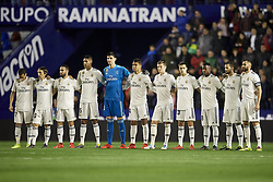 February 24, 2019 - Valencia, Valencia, Spain - Line up Real Madrid (L-R) Lucas Vazquez, Luka Modric, Daniel Carvajal, Raphael Varane, Thibaut Courtois, Casemiro, Toni Kroos, Sergio Reguilon, Vinicius Junior, Nacho and Karim Benzema during the week 25 of La Liga match between Levante UD and Real Madrid at Ciutat de Velencia Stadium in Valencia, Spain on February 24, 2019. (Credit Image: © Jose Breton/NurPhoto via ZUMA Press)