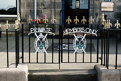 Entrance to private members only St Andrews Golf Club adjacent to 18th hole at old Course in St Andrews , Fife, Scotland, United Kingdom