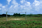 Makeshift soccer field and goal posts, Ambergris Caye, Belize
