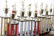 Row of trophies awarded to winners. Hmong Sports Festival McMurray Field St Paul Minnesota USA