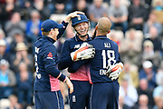Wicket - Moeen Ali of England celebrates taking the wicket of Marlon Samuels of West Indies who was stumped by Jos Buttler of England during the One Day International match between England and West Indies at the Ageas Bowl, Southampton, United Kingdom on 29 September 2017. Photo by Graham Hunt.