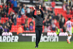 February 23, 2019 - Stoke On Trent, England, United Kingdom - Nathan Jones Manager of Stoke City applauded the Stoke supporters during the Sky Bet Championship match between Stoke City and Aston Villa at the Britannia Stadium, Stoke-on-Trent on Saturday 23rd February 2019. (Credit Image: © Mi News/NurPhoto via ZUMA Press)