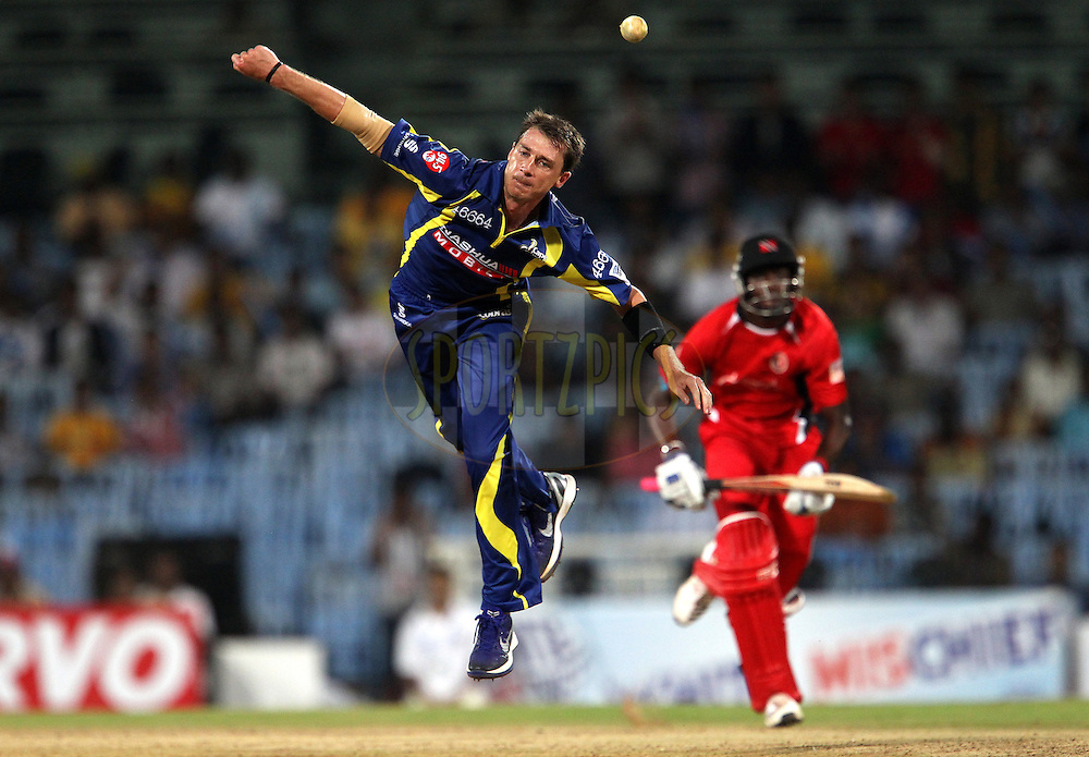 Dale Steyn during match 17 of the NOKIA Champions League T20 ( CLT20 )between the Cape Cobras and Trinidad and Tobago held at the M. A. Chidambaram Stadium in Chennai , Tamil Nadu, India on the 4th October 2011..Photo by Ron Gaunt/BCCI/SPORTZPICS