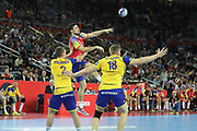 Raul Dujshebaev (Spain) and Simon Jeppsson, Frederic Pettersson (Sweden) during the EHF 2018 Men's European Championship, Final Handball match between Spain and Sweden on January 28, 2018 at the Arena in Zagreb, Croatia - Photo Laurent Lairys / ProSportsImages / DPPI