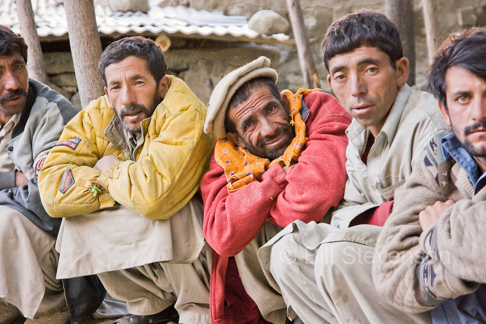 A photo of a group of porters in Pakistan in the town of Askole in Pakistan