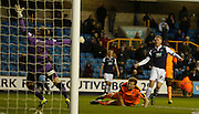 Millwall FC Forward Aiden O'Brien puts his shot over and wide during the Sky Bet League 1 match between Millwall and Colchester United at The Den, London, England on 21 November 2015. Photo by Andy Walter.