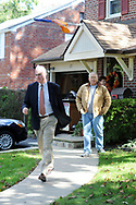 10/16/10 9:29:33 AM -- Springfield, PA<br />  -- Republican Congressional candidate Pat Meehan (L) exits after speaking with voter Ron Fraatz (R), 61, October 16, 2010 in Springfield, Pennsylvania. Meehan faces incumbent Democrat Bryan Lentz in the Nov. 2 general election. --  Photo by William Thomas Cain/Cain Images