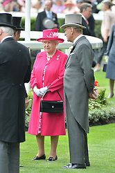 HM The QUEEN and her racing manager JOHN WARREN at the 1st day of the Royal Ascot Racing Festival 2015 at Ascot Racecourse, Ascot, Berkshire on 16th June 2015.
