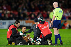London Irish Winger (#11) Anthony Watson receives treatment before going off during the second half of the match - Photo mandatory by-line: Rogan Thomson/JMP - Tel: Mobile: 07966 386802 15/12/2012 - SPORT - RUGBY - Kingsholm Stadium - Gloucester. Gloucester Rugby v London Irish - Amlin Challenge Cup Round 4.
