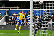 Ezgjan Alioski (10) of Leeds United shoots at goal during the The FA Cup 3rd round match between Queens Park Rangers and Leeds United at the Loftus Road Stadium, London, England on 6 January 2019.
