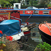Houseboats on Regent's Canal at Little Venice near Warwick Avenue, London, England, UK<br />