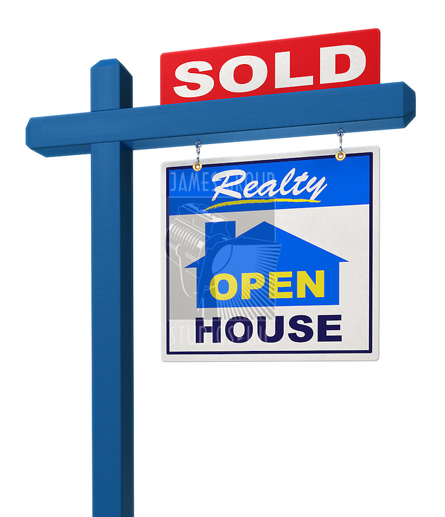 A realestate sign showing the house as sold on a white background