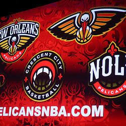 Jan 21, 2013; New Orleans, LA, USA; A detailed view of the primary and secondary logos displayed during a press conference to announce the rebranding of the team to the New Orleans Pelicans effective in the 2013-2014 NBA season at the New Orleans Arena. Mandatory Credit: Derick E. Hingle-USA TODAY Sports