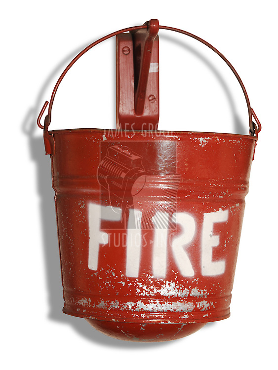 red vintage fire bucket for extinguishing fires