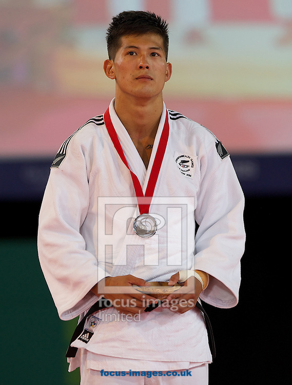 Silver medal winner in the 73k class Adrian Leat of NZL on day two of the judo at the  SECC Precinct, Glasgow<br /> Picture by Alan Stanford/Focus Images Ltd +44 7915 056117<br /> 25/07/2014