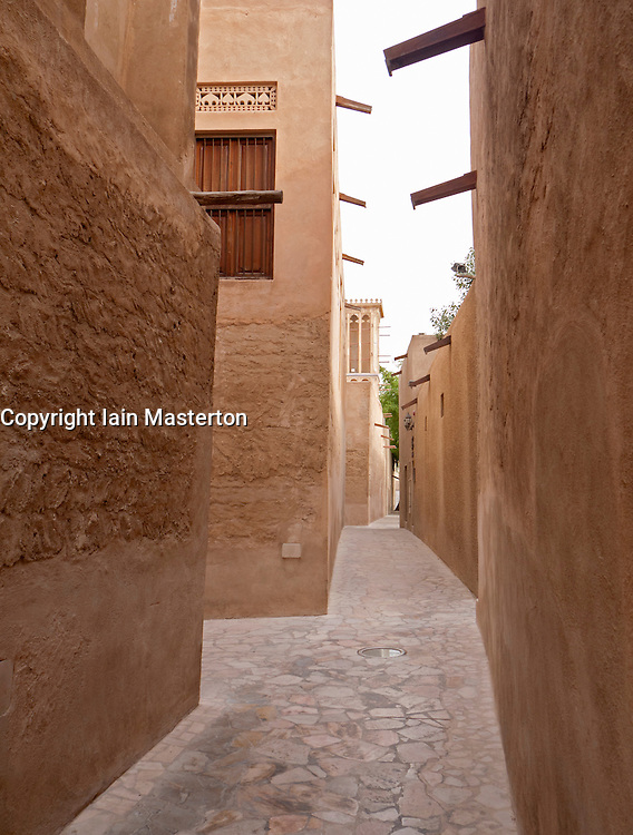 Alleyway in historic Bastakia Quarter Bur Dubai, Dubai, United Arab Emirates, UAE