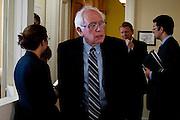 Senator BERNIE SANDERS (I-VT)arrives for  a news conference on Capitol Hill Wednesday announcing legislation to safeguard Social Security.