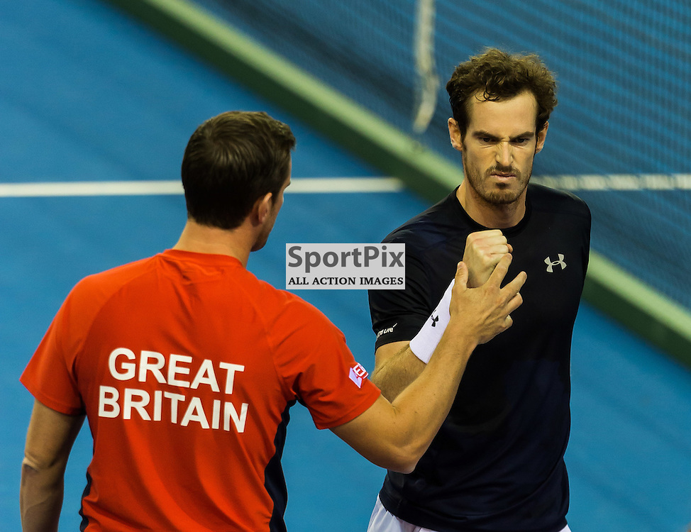 Andy Murray celebrates winning the first set with his manager Leon Smith during the Davis Cup Semi-final between Great Britian and Australia (c) ROSS EAGLESHAM | Sportpix.co.uk