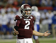 ATLANTA, GA - DECEMBER 31:  Quarterback Johnny Manziel #2 of the Texas A&M Aggies argues a call during the the Chick-fil-A Bowl game against the Duke Blue Devils at the Georgia Dome on December 31, 2013 in Atlanta, Georgia.  (Photo by Mike Zarrilli/Getty Images)