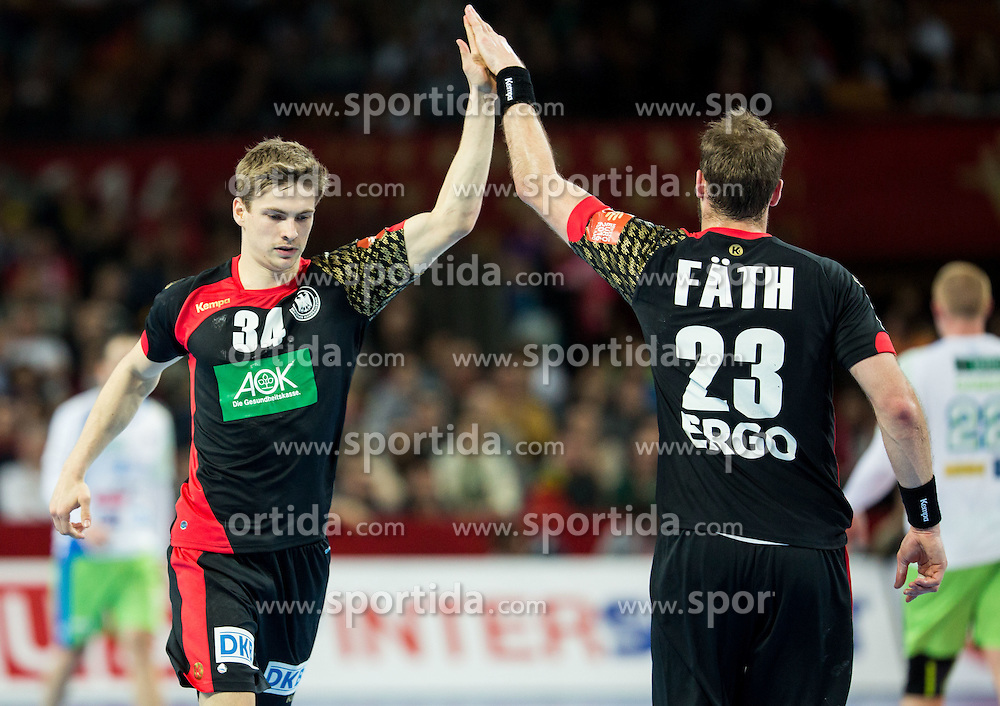 Rune Dahmke of Germany and Steffen Faeth of Germany during handball match between National teams of Germany and Slovenia on Day 6 in Preliminary Round of Men's EHF EURO 2016, on January 20, 2016 in Centennial Hall, Wroclaw, Poland. Photo by Vid Ponikvar / Sportida