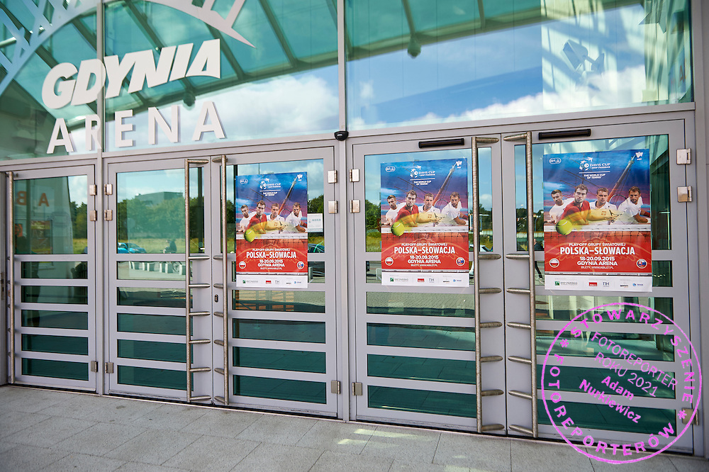 Main entrance to Gdynia Arena during Davis Cup Tie World Group Play-off Poland v Slovakia at Gdynia Arena Hall in Gdynia, Poland.<br /> <br /> Poland, Gdynia, September 18, 2015<br /> <br /> Picture also available in RAW (NEF) or TIFF format on special request.<br /> <br /> For editorial use only. Any commercial or promotional use requires permission.<br /> <br /> Adam Nurkiewicz declares that he has no rights to the image of people at the photographs of his authorship.<br /> <br /> Mandatory credit:<br /> Photo by &copy; Adam Nurkiewicz / Mediasport