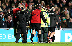 Telusa Veainu of Leicester Tigers is carried off the pitch after picking up a head injury - Mandatory by-line: Robbie Stephenson/JMP - 23/10/2016 - RUGBY - Welford Road Stadium - Leicester, England - Leicester Tigers v Racing 92 - European Champions Cup