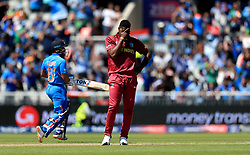 West Indies' Oshane Thomas reacts during the ICC Cricket World Cup group stage match at Emirates Old Trafford, Manchester.