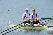 Lucerne. Switzerland.  GBR  W2X. Bow. Frances HOUGHTON and Victoria MEYER-LAKER, move away from the start pontoon in their heat of the women's double Sculls, FISA WC III. 13:35:13  Friday  12/07/2013  [Mandatory Credit, Peter Spurrier/ Intersport Images] Lake Rotsee,
