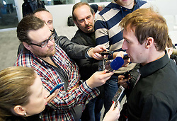 Journalists with Grega Zemlja during press conference of TZS - Slovene Tennis Association after the end of the season 2012/13, on December 3, 2013 in BTC, Ljubljana, Slovenia. Photo by Vid Ponikvar / Sportida