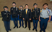 Superintendent Richard Carranza poses for a photograph with the JROTC color guard during a stop of his Listen & Learn Tour of the district at Chavez High School, September 15, 2016.