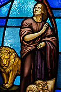 Stained glass depicting Daniel and the lions (Daniel 6) on Wednesday, May 13, 2020, at St. Paul's Lutheran Church, Columbia, Ill. LCMS Communications/Erik M. Lunsford