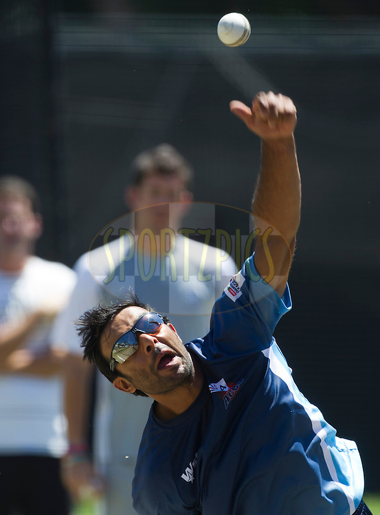 Ronnie Hira bowls in the nets during the Auckland Aces practice session held a Kingsmead Stadium in Durban on the 18th October 2012..Photo by Rogan Ward/SPORTZPICS/CLT20