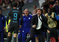 Chelsea's Alvaro Morata (left) celebates scoring his side's first goal with manager Antonio Conte