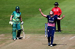 Natalie Sciver of England Women looks frustrated as she tries to find the breakthrough wicket against South Africa Women - Mandatory by-line: Robbie Stephenson/JMP - 05/07/2017 - CRICKET - County Ground - Bristol, United Kingdom - England Women v South Africa Women - ICC Women's World Cup Group Stage