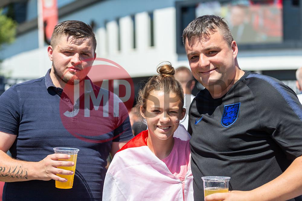Fans pose for a photo prior to kick off - Ryan Hiscott/JMP - 07/07/2018 - FOOTBALL - Ashton Gate - Bristol, England - Sweden v England, World Cup Quarter Final, World Cup Village at Ashton Gate