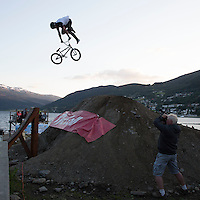 VOSS, 2014626; Ekstremesportsweek in city of Voss in Western Norway is hosting a full week of different extreme sports ranging from skateboarding, long boarding, skydiving, rafting, paragliding and river kayaking. This photo is from the final in the MTB and BMX competitions.  PHOTO by TOM HANSEN
