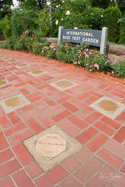Commemorative plaques and sign at the International Rose Test Garden, Portland, Oregon