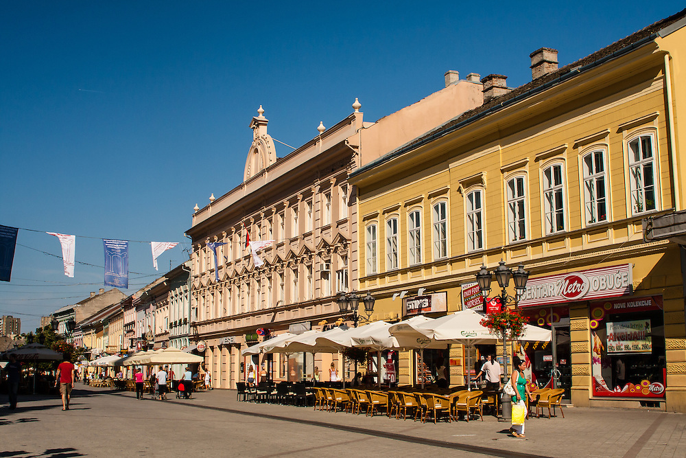 Cafe-lined Zmaj Jovina Street  is the pedestrian area at the center of Novi Sad, Serbia's second largest city.