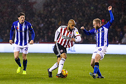 David McGoldrick of Sheffield United takes on Barry Bannan of Sheffield Wednesday - Mandatory by-line: Robbie Stephenson/JMP - 09/11/2018 - FOOTBALL - Bramall Lane - Sheffield, England - Sheffield United v Sheffield Wednesday - Sky Bet Championship
