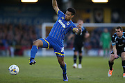 AFC Wimbledon striker Lyle Taylor (33) during the Sky Bet League 2 match between AFC Wimbledon and Portsmouth at the Cherry Red Records Stadium, Kingston, England on 26 April 2016.