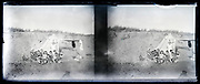 large group posing in the dunes with tent 1920s summer vacation France