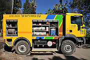 Forest fire truck belongs to the KKL (Jewish National Fund) which manages most of the forests in Israel. This fire engine is designed to be a first line of defence on forest fires